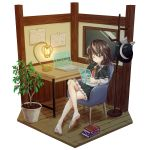 1girl absurdres barefoot black_headwear black_skirt braid brown_hair capelet chair computer fedora hat highres holographic_monitor holographic_touchscreen indoors laptop necktie ramie_(ramie541) red_neckwear science_fiction shirt single_braid skirt solo table touhou usami_renko