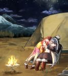 2girls blue_hair boots campfire camping camping_chair chair closed_eyes clouds coffee coffee_cup commentary cup disposable_cup fire forest grass hat head_on_another's_shoulder kagamihara_nadeshiko long_hair mountain multiple_girls nature night night_sky outdoors pink_hair radio scarf shima_rin sitting sky sleeping smile star_(sky) starry_sky steam suda tent tree violet_eyes winter_clothes yuri yurucamp