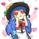 1girl apron aqua_bow aqua_sash bangs black_headwear blouse blue_bow blue_hair blue_sash blue_skirt blush bow bowtie chibi collared_blouse collared_shirt commentary dress_shirt english_commentary facing_up food fruit hands_on_own_face hands_up hat heart heart_background heart_eyes hinanawi_tenshi leaf long_hair open_mouth peach puffy_short_sleeves puffy_sleeves rakkidei red_bow red_neckwear sash shirt short_sleeves sidelocks simple_background skirt solo symbol_commentary touhou triangle_mouth upper_body white_apron white_background white_blouse white_shirt wing_collar