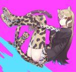 1girl black_shirt blonde_hair boots brown_hair cat cheetah cheetah_ears cheetah_girl cheetah_print cheetah_tail cleats collared_shirt don3 elbow_gloves extra_ears eyebrows_visible_through_hair fingerless_gloves gloves gradient_hair hands_under_legs kemono_friends king_cheetah_(kemono_friends) kitten knee_boots long_hair looking_at_viewer multicolored_hair necktie pleated_skirt print_footwear print_gloves print_legwear print_neckwear print_skirt shirt short_sleeves sidelocks skirt solo t-shirt thigh-highs yellow_eyes zettai_ryouiki