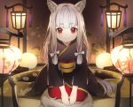 1girl animal_ears bangs black_kimono blunt_bangs buuta cat_ears cat_tail grey_hair highres indoors japanese_clothes kimono lantern long_hair necogurashi obi official_art red_eyes sash seiza sidelocks sitting smile solo tail
