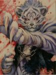 1boy bandaged_hands bandages blood blood_splatter chain claws furry hoshizaki_reita looking_at_viewer male_focus original photo signature slit_pupils solo tiger traditional_media upper_body white_tiger yellow_eyes