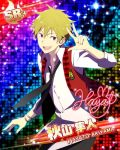 akiyama_hayato blonde_hair character_name dress idolmaster idolmaster_side-m red_eyes short_hair smile