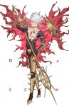 1boy armor bangs blue_eyes bodysuit chest_jewel earrings fate/apocrypha fate_(series) full_body fur_collar highres jewelry karna_(fate) lance looking_at_viewer male_focus muscle pale_skin polearm seth single_earring solo weapon white_hair