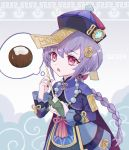 1girl braid character_request dress genshin_impact highres jiangshi long_hair open_mouth purple_hair red_eyes seigaaaa single_braid solo thought_bubble
