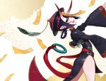 1girl :d bangs black_dress braid china_dress chinese_clothes commentary_request dress eyebrows_visible_through_hair fang fangs fate/grand_order fate_(series) hat heroic_spirit_festival_outfit highres horns jiangshi leaning_back long_sleeves looking_at_viewer looking_to_the_side ofuda oni oni_horns open_mouth outstretched_arm pink_lips pointy_ears purple_hair qing_guanmao red_headwear short_eyebrows shuten_douji_(fate/grand_order) sleeves_past_wrists smile solo standing talisman thick_eyebrows violet_eyes wide_sleeves yuu_(higashi_no_penguin)