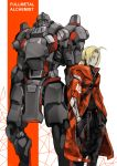 2boys absurdres ahoge alphonse_elric alternate_costume armor blonde_hair character_name closed_mouth coat copyright_name edward_elric english_text full_armor fullmetal_alchemist hands_in_pockets highres male_focus mechanical mechanical_arm medium_hair multiple_boys red_coat standing subakeye yellow_eyes zipper zipper_pull_tab