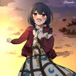 1girl bangs blue_hair blush braid cardigan clouds cowboy_shot dress hair_between_eyes hair_bobbles hair_ornament hairclip idolmaster idolmaster_shiny_colors long_sleeves low_twin_braids medium_hair morino_rinze open_cardigan open_clothes open_mouth orange_sky outdoors red_cardigan red_eyes sky smile solo star_(sky) starry_sky sunset torinabe twin_braids twitter_username white_dress