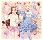 2girls :d aran_sweater back_bow blonde_hair blue_dress blue_eyes blue_legwear bow brown_eyes brown_hair cake cake_slice checkerboard_cookie cherry chocolate_cake cookie crossover crown_print cup cupcake dav-19 dessert diamond_(shape) dress english_commentary facial_mark feet_out_of_frame flat_chest floating floating_object floral_print flower food food_in_mouth frilled_dress frilled_sleeves frills fruit gravity_falls hair_flower hair_ornament hairband hands_up heart heart_cheeks holding holding_saucer horned_headwear horns layered_skirt legs_apart levitation lolita_fashion long_hair long_sleeves looking_at_viewer mabel_pines macaron mary_janes miniskirt mouth_hold multiple_girls open_mouth pantyhose petticoat pink_background pink_bow pink_flower pink_skirt plaid plaid_skirt plate print_bow print_dress print_skirt red_footwear saucer shoes skirt smile sparkle spoon star_(symbol) star_butterfly star_vs_the_forces_of_evil star_wand striped striped_legwear sugar_cube sweater sweet_lolita sweets tea tea_set teacup teapot turtleneck turtleneck_sweater very_long_hair wand watermark web_address white_sweater winged_wand