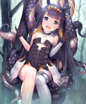1girl :d bangs black_dress black_gloves blue_eyes blunt_bangs breasts dress fang forest gloves halo headpiece highres hololive long_hair looking_at_viewer mogmog mole mole_under_eye nature ninomae_ina'nis open_mouth pointy_ears purple_hair sidelocks single_thighhigh sitting small_breasts smile solo strapless strapless_dress tentacles thigh-highs tree virtual_youtuber white_legwear