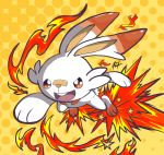 :d absurdres commentary english_commentary fire gen_8_pokemon harlequinwaffles highres jumping no_humans open_mouth orange_background pokemon pokemon_(creature) polka_dot polka_dot_background rabbit scorbunny signature smile solo star_(symbol) starter_pokemon upper_teeth