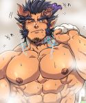 1boy abs bara beard black_hair chest chun_(luxtan) facial_hair fang horns male_focus manly muscle naked_towel nipples pectorals sauna scar shirtless solo steam takemaru_(tokyo_houkago_summoners) third-party_source tokyo_houkago_summoners towel upper_body wet