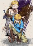 1boy 1girl bare_shoulders blonde_hair dirty dirty_clothes dirty_face highres holding holding_sword holding_weapon kneeling link long_hair looking_up master_sword open_mouth pointy_ears princess_zelda shimure_(460) sword the_legend_of_zelda the_legend_of_zelda:_breath_of_the_wild weapon