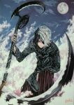1boy black_hair blue_sky closed_mouth clouds cloudy_sky death_(entity) eyepatch grim_reaper highres holding holding_scythe holding_weapon hoshizaki_reita jpeg_artifacts male_focus moon multicolored multicolored_hair one_knee original outdoors scythe shinigami signature sky smile solo traditional_media weapon white_hair