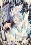 1boy blue_eyes demon_boy feathered_wings feathers fingernails frozen hair_over_one_eye highres hoshizaki_reita ice icicle long_fingernails looking_at_viewer male_focus original parted_lips purple_nails reaching_out sharp_fingernails signature silver_hair single_wing slit_pupils smile solo sparkle teeth traditional_media very_long_fingernails white_feathers wings