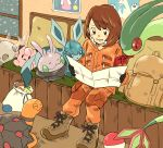 1girl backpack bag bangs beartic berry_(pokemon) blush boots brown_eyes brown_footwear brown_hair character_doll clefairy commentary_request couch flygon gen_1_pokemon gen_3_pokemon gen_4_pokemon gen_5_pokemon gen_6_pokemon glaceon gloria_(pokemon) goomy holding holding_paper indoors jacket long_sleeves looking_down matsuri_(matsuike) open_mouth oran_berry orange_jacket orange_pants paper pokemon pokemon_(game) pokemon_swsh poster_(object) sack short_hair sitrus_berry sitting snowing swept_bangs teeth tongue torkoal window
