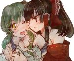 2girls assisted_exposure black_eyes black_hair bow bra breast_grab commentary eye_contact frog_hair_ornament grabbing green_hair hair_bow hair_ornament hair_tubes hakurei_reimu highres kochiya_sanae long_hair looking_at_another multiple_girls open_mouth simple_background snake_hair_ornament touhou udonko underwear wavy_mouth white_background wince yellow_eyes yuri