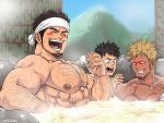 3boys abs bamboo_fence bara black_hair blush body_hair chest chest_hair chun_(luxtan) cup drunk facial_hair fence happy headband highres laughing male_focus manly mountain multiple_boys muscle nipples onsen original pectorals rock short_hair steam stubble surprised toned toned_male upper_body water wet
