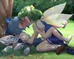 2girls blue_bow blue_eyes blush bow brown_footwear cirno closed_eyes daiyousei fairy_wings forest grass green_hair hair_bow highres holding_hands ice ice_wings interlocked_fingers kiss koharuko_(khrkhrk) multiple_girls nature outdoors puffy_short_sleeves puffy_sleeves shoes short_hair short_sleeves side_ponytail socks touhou tree wings yellow_bow yuri