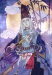 1boy abe_no_seimei_(onmyoji) bamboo black_headwear clouds fan folding_fan full_moon grey_eyes hat holding holding_fan japanese_clothes long_hair long_sleeves looking_at_viewer male_focus moon night onmyoji outdoors sayuuhiro solo tate_eboshi traditional_clothes white_hair