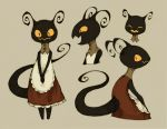 1girl ^_^ antennae apron closed_eyes dress hands_together maniani monster original simple_background tail