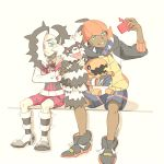 2boys aqua_eyes belt black_hair black_hoodie commentary_request cropped_jacket dark_skin dark_skinned_male dynamax_band eyeshadow galarian_form galarian_zigzagoon gen_3_pokemon gen_4_pokemon gen_8_pokemon gloves green_eyes gym_leader holding holding_pokemon jacket long_hair looking_to_the_side makeup matsuri_(matsuike) multicolored_hair multiple_boys piers_(pokemon) pokemon pokemon_(creature) pokemon_(game) pokemon_swsh raihan_(pokemon) rotom rotom_phone self_shot shoes single_glove sitting trapinch two-tone_hair white_jacket