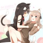 2girls animal_ear_fluff animal_ears aqua_eyes bangs black_hair black_hairband black_legwear blush box brown_hair cardboard_box cat_ears cat_girl cat_tail collarbone detached_sleeves eyebrows_visible_through_hair hair_between_eyes hairband heart highres long_hair lying multiple_girls non_(wednesday-classic) original paw_print pillow red_neckwear sweater_vest tail thigh-highs white_background yarn yarn_ball yellow_eyes yuri