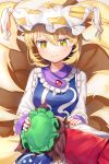2girls animal_ears blonde_hair brown_hair cat_ears chen commentary_request dated dress eyebrows_visible_through_hair fingernails fox_tail from_behind green_hair gunjou_row hair_between_eyes hand_on_another's_head hand_on_another's_shoulder hat highres lap_pillow light_blush long_sleeves looking_down lying multiple_girls multiple_tails nail_polish on_side pillow_hat red_nails red_skirt red_vest shirt short_hair signature skirt slit_pupils smile tabard tail tassel touhou twitter_username vest white_dress white_shirt yakumo_ran yellow_eyes