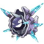 absurdres breath cloyster commentary english_commentary gen_1_pokemon glint grin harlequinwaffles highres icicle looking_at_viewer no_humans pokemon pokemon_(creature) signature smile solo sparkle transparent_background