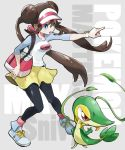 1girl animal bag bangs black_legwear blue_eyes bow breasts brown_hair commentary_request copyright_name creatures_(company) double_bun furofuroppi game_freak gen_5_pokemon hair_between_eyes hand_up handbag human knees legs_apart legwear_under_shorts long_hair mei_(pokemon) nintendo olm_digital open_mouth pantyhose pink_bow pointing pokemon pokemon_(anime) pokemon_(creature) pokemon_(game) pokemon_bw2 pokemon_masters_ex raglan_sleeves reptile rosa_(pokemon) shirt shoes short_shorts shorts sidelocks snake sneakers snivy starter_pokemon the_pokemon_company twintails very_long_hair visor_cap yellow_shorts