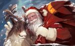 1boy beard christmas facial_hair gloves hat looking_at_viewer luer_qing male_focus mustache outdoors over_shoulders overwatch reindeer reinhardt_(overwatch) sack santa_costume santa_hat scar scar_across_eye snowing upper_body white_gloves white_hair