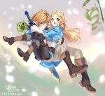 1boy 1girl bangs blonde_hair blue_eyes blush braid breasts carrying earrings gloves green_eyes jewelry lazoomaiga link long_hair nintendo open_mouth pointy_ears princess_carry princess_zelda smile the_legend_of_zelda the_legend_of_zelda:_breath_of_the_wild
