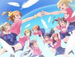 6+girls ayase_eli blue_skirt blue_sky breasts highres hoshizora_rin kate_iwana koizumi_hanayo kousaka_honoka long_hair love_live! love_live!_school_idol_project medium_breasts minami_kotori multiple_girls nishikino_maki open_mouth pink_shirt pleated_skirt rainbow shirt short_hair short_sleeves skirt sky smile sonoda_umi t-shirt toujou_nozomi twintails white_feathers yazawa_nico