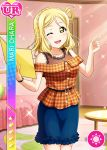 blonde_hair blush character_name dress love_live!_school_idol_festival love_live!_sunshine!! ohara_mari short_hair smile wink yellow_eyes