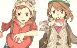 1boy 1girl backpack bag bangs beanie blurry brown_backpack brown_eyes brown_hair buttons cable_knit cardigan collared_dress commentary_request dress gloria_(pokemon) green_headwear grey_cardigan grey_headwear hand_up hat holding holding_poke_ball hooded_cardigan matsuri_(matsuike) open_mouth pink_dress plaid poke_ball poke_ball_(basic) pokemon pokemon_(game) pokemon_swsh red_shirt shirt short_hair sleeves_rolled_up suitcase swept_bangs tam_o'_shanter teeth tongue victor_(pokemon) white_background