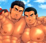2boys abs bara black_hair chest chest_hair cropped_torso facial_hair goatee hand_on_shoulder looking_to_the_side male_focus manly masateruteru multiple_boys muscle nipples original pectoral_docking pectoral_press pectorals shirt_removed short_hair sideburns stubble thick_eyebrows