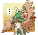 ... arm_up arrow_(projectile) bird bow_(weapon) commentary_request decidueye drawing_bow feet_out_of_frame gen_7_pokemon highres legs_apart no_humans owl pokemon pokemon_(creature) rowlet speech_bubble spoken_ellipsis starter_pokemon taisa_(lovemokunae) weapon wings