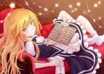 1girl absurdres book couch highres indoors kirisame_marisa looking_at_viewer no_shoes ramie_(ramie541) relaxed socks star_(symbol) touhou witch