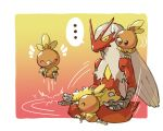 ... ^_^ bird blaziken bouncing chick closed_eyes closed_mouth commentary_request crossed_legs gen_3_pokemon highres no_humans on_shoulder pokemon pokemon_(creature) pokemon_on_shoulder running spoken_ellipsis starter_pokemon sweatdrop taisa_(lovemokunae) torchic