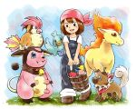 1girl berry_(pokemon) blush boots brown_footwear brown_hair bucket commentary_request gen_1_pokemon gen_2_pokemon gen_7_pokemon grass holding matsuri_(matsuike) miltank open_mouth oran_berry overalls pidgeotto pink_bandana pokemon ponyta rockruff shirt short_sleeves sitrus_berry smile standing upper_teeth white_shirt