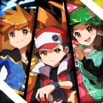 1girl 2boys bangs baseball_cap black_hair blastoise blue_oak brown_eyes brown_hair camouflage_headwear charizard closed_mouth commentary_request fingernails frown gen_1_pokemon hat highres holding holding_poke_ball jacket leaf_(pokemon) long_hair multiple_boys open_mouth orange_hair poke_ball poke_ball_(basic) pokemon pokemon_(creature) pokemon_(game) pokemon_masters_ex red_(pokemon) shiny shiny_hair smile split_screen taisa_(lovemokunae) teeth tongue venusaur wristband
