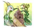 blush commentary_request flag gen_5_pokemon hand_up happy highres looking_down open_mouth orange_eyes outstretched_hand pokemon pokemon_(creature) sand_castle sand_sculpture serperior smile snake snivy starter_pokemon taisa_(lovemokunae) tongue