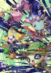 :d absurdres black_ribbon blue_eyes blush cape celebi commentary_request crown fur-trimmed_cape fur_trim gen_1_pokemon gen_2_pokemon gen_3_pokemon gen_4_pokemon green_headwear hat highres holding jirachi leaf manaphy mew mythical_pokemon no_humans open_mouth pikachu pokemon red_cape ribbon smile star_(symbol) taisa_(lovemokunae) tongue witch_hat