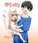 1boy 1girl 40hara animal_ear_fluff animal_ears aqua_eyes bangs barefoot black_hair blue_shirt blunt_bangs carrying cat_ears cat_girl cat_tail collar hand_on_another's_cheek hand_on_another's_face kinako_(40hara) light_brown_hair long_hair open_mouth original pet_collar red_collar shirt short_sleeves t-shirt tail white_shirt