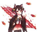 1girl absurdres aircraft akagi-chan_(azur_lane) animal_ears azur_lane bangs bell black_kimono black_legwear blunt_bangs blush brown_hair collarbone commentary_request cowboy_shot detached_collar eyebrows_visible_through_hair eyeshadow flight_deck fox_ears fox_tail hair_bell hair_ornament hakama_skirt hand_up highres index_finger_raised japanese_clothes kimono looking_at_viewer makeup multiple_tails n_(527959851) red_eyes red_eyeshadow red_skirt sakuramon shirt short_hair sidelocks simple_background skirt smile solo standing tail thigh-highs two_side_up white_background white_shirt wide_sleeves zettai_ryouiki