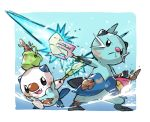 :< bent_over black_eyes bucket closed_mouth commentary_request dewott dirty fang gen_5_pokemon highres holding holding_bucket looking_at_viewer open_mouth oshawott pokemon pokemon_(creature) seashell shell standing starter_pokemon taisa_(lovemokunae)