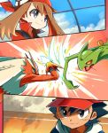 1boy 1girl ash_ketchum attack bangs battle blaziken brown_hair closed_mouth clouds commentary_request day eyebrows_visible_through_hair eyelashes gen_3_pokemon grey_eyes hair_between_eyes highres hyou_(hyouga617) leaf_blade_(pokemon) may_(pokemon) pokemon pokemon_(anime) pokemon_(creature) pokemon_rse_(anime) red_bandana sceptile sky smile