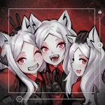 3girls animal_ears black_gloves black_neckwear cerberus_(helltaker) cerberus_(last_origin) closed_mouth demon_tail eyeshadow fangs gloves hand_on_another's_head helltaker long_hair makeup multiple_girls one_eye_closed open_mouth red_eyeshadow robot_cat self_shot smile tail taking_picture teeth tongue tongue_out v white_hair