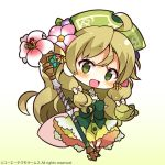 1girl :d atelier_(series) bangs blue_flower blush bow brown_flower brown_hair character_request chibi dress eyebrows_visible_through_hair flower full_body gradient gradient_background green_background green_dress green_eyes green_headwear hair_between_eyes hair_bow hair_flower hair_ornament hat holding holding_staff long_hair looking_at_viewer muuran official_art open_mouth pink_flower smile solo staff very_long_hair watermark white_background white_bow