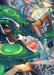 attack battle claws clouds commentary_request deoxys deoxys_(defense) energy fang gen_3_pokemon highres legendary_pokemon mythical_pokemon no_humans open_mouth pokemon pokemon_(creature) rayquaza shiny skin_fang space supearibu yellow_eyes